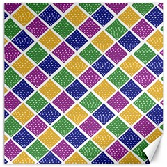 African Illutrations Plaid Color Rainbow Blue Green Yellow Purple White Line Chevron Wave Polkadot Canvas 16  x 16