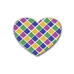 African Illutrations Plaid Color Rainbow Blue Green Yellow Purple White Line Chevron Wave Polkadot Rubber Coaster (Heart)