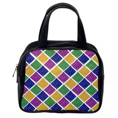 African Illutrations Plaid Color Rainbow Blue Green Yellow Purple White Line Chevron Wave Polkadot Classic Handbags (One Side)