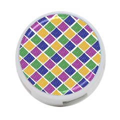 African Illutrations Plaid Color Rainbow Blue Green Yellow Purple White Line Chevron Wave Polkadot 4-Port USB Hub (Two Sides)