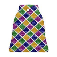 African Illutrations Plaid Color Rainbow Blue Green Yellow Purple White Line Chevron Wave Polkadot Bell Ornament (Two Sides)