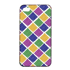 African Illutrations Plaid Color Rainbow Blue Green Yellow Purple White Line Chevron Wave Polkadot Apple Iphone 4/4s Seamless Case (black)