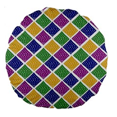 African Illutrations Plaid Color Rainbow Blue Green Yellow Purple White Line Chevron Wave Polkadot Large 18  Premium Round Cushions