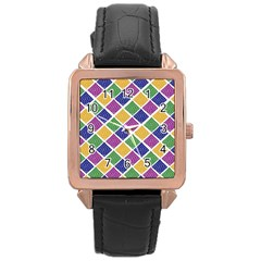 African Illutrations Plaid Color Rainbow Blue Green Yellow Purple White Line Chevron Wave Polkadot Rose Gold Leather Watch