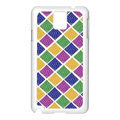 African Illutrations Plaid Color Rainbow Blue Green Yellow Purple White Line Chevron Wave Polkadot Samsung Galaxy Note 3 N9005 Case (White)