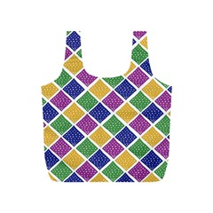 African Illutrations Plaid Color Rainbow Blue Green Yellow Purple White Line Chevron Wave Polkadot Full Print Recycle Bags (S)
