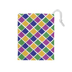 African Illutrations Plaid Color Rainbow Blue Green Yellow Purple White Line Chevron Wave Polkadot Drawstring Pouches (Medium)