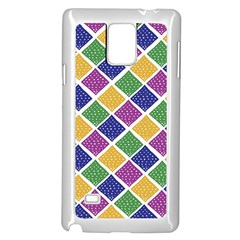 African Illutrations Plaid Color Rainbow Blue Green Yellow Purple White Line Chevron Wave Polkadot Samsung Galaxy Note 4 Case (White)