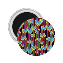 Building City Plaid Chevron Wave Blue Green 2.25  Magnets