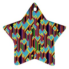 Building City Plaid Chevron Wave Blue Green Star Ornament (Two Sides)