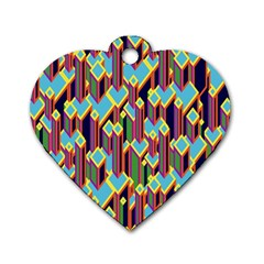Building City Plaid Chevron Wave Blue Green Dog Tag Heart (One Side)