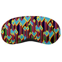 Building City Plaid Chevron Wave Blue Green Sleeping Masks