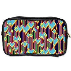 Building City Plaid Chevron Wave Blue Green Toiletries Bags