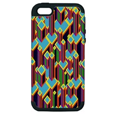 Building City Plaid Chevron Wave Blue Green Apple Iphone 5 Hardshell Case (pc+silicone)