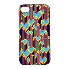 Building City Plaid Chevron Wave Blue Green Apple iPhone 4/4S Hardshell Case with Stand