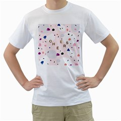 Cheers Polkadot Circle Color Rainbow Men s T-Shirt (White) (Two Sided)