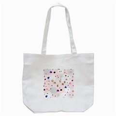 Cheers Polkadot Circle Color Rainbow Tote Bag (White)