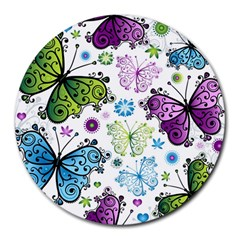 Butterfly Animals Fly Purple Green Blue Polkadot Flower Floral Star Round Mousepads
