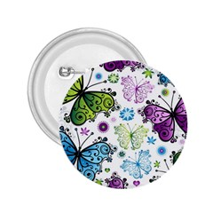 Butterfly Animals Fly Purple Green Blue Polkadot Flower Floral Star 2.25  Buttons