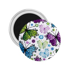 Butterfly Animals Fly Purple Green Blue Polkadot Flower Floral Star 2.25  Magnets