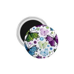 Butterfly Animals Fly Purple Green Blue Polkadot Flower Floral Star 1.75  Magnets