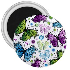 Butterfly Animals Fly Purple Green Blue Polkadot Flower Floral Star 3  Magnets