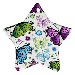 Butterfly Animals Fly Purple Green Blue Polkadot Flower Floral Star Ornament (Star)