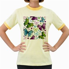Butterfly Animals Fly Purple Green Blue Polkadot Flower Floral Star Women s Fitted Ringer T-Shirts