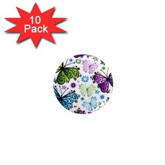 Butterfly Animals Fly Purple Green Blue Polkadot Flower Floral Star 1  Mini Magnet (10 pack)