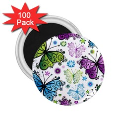 Butterfly Animals Fly Purple Green Blue Polkadot Flower Floral Star 2.25  Magnets (100 pack)
