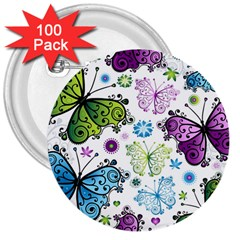 Butterfly Animals Fly Purple Green Blue Polkadot Flower Floral Star 3  Buttons (100 pack)
