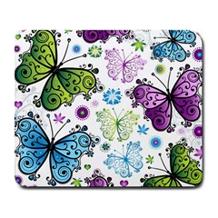 Butterfly Animals Fly Purple Green Blue Polkadot Flower Floral Star Large Mousepads