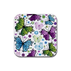 Butterfly Animals Fly Purple Green Blue Polkadot Flower Floral Star Rubber Square Coaster (4 pack)
