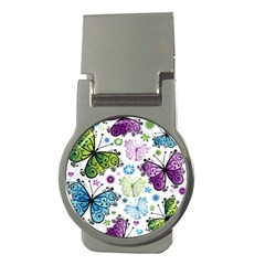 Butterfly Animals Fly Purple Green Blue Polkadot Flower Floral Star Money Clips (Round)