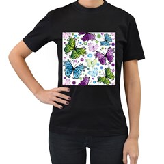 Butterfly Animals Fly Purple Green Blue Polkadot Flower Floral Star Women s T-Shirt (Black) (Two Sided)