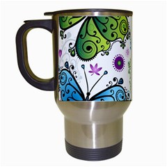 Butterfly Animals Fly Purple Green Blue Polkadot Flower Floral Star Travel Mugs (White)