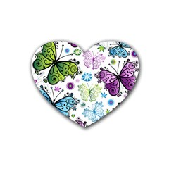 Butterfly Animals Fly Purple Green Blue Polkadot Flower Floral Star Heart Coaster (4 pack)