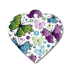 Butterfly Animals Fly Purple Green Blue Polkadot Flower Floral Star Dog Tag Heart (Two Sides)