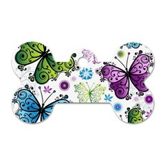 Butterfly Animals Fly Purple Green Blue Polkadot Flower Floral Star Dog Tag Bone (One Side)