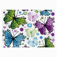 Butterfly Animals Fly Purple Green Blue Polkadot Flower Floral Star Large Glasses Cloth