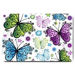 Butterfly Animals Fly Purple Green Blue Polkadot Flower Floral Star Large Doormat