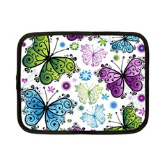 Butterfly Animals Fly Purple Green Blue Polkadot Flower Floral Star Netbook Case (Small)