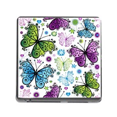 Butterfly Animals Fly Purple Green Blue Polkadot Flower Floral Star Memory Card Reader (Square)