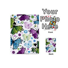 Butterfly Animals Fly Purple Green Blue Polkadot Flower Floral Star Playing Cards 54 (Mini)