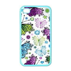 Butterfly Animals Fly Purple Green Blue Polkadot Flower Floral Star Apple iPhone 4 Case (Color)