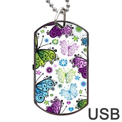 Butterfly Animals Fly Purple Green Blue Polkadot Flower Floral Star Dog Tag USB Flash (One Side)