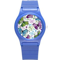 Butterfly Animals Fly Purple Green Blue Polkadot Flower Floral Star Round Plastic Sport Watch (S)