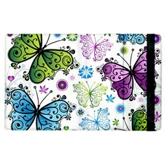 Butterfly Animals Fly Purple Green Blue Polkadot Flower Floral Star Apple iPad 3/4 Flip Case