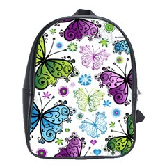 Butterfly Animals Fly Purple Green Blue Polkadot Flower Floral Star School Bags (XL)