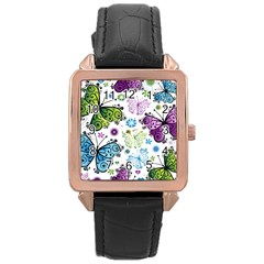 Butterfly Animals Fly Purple Green Blue Polkadot Flower Floral Star Rose Gold Leather Watch